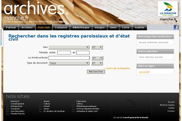 Rechercher dans l'état civil des Archives départementales de la Manche