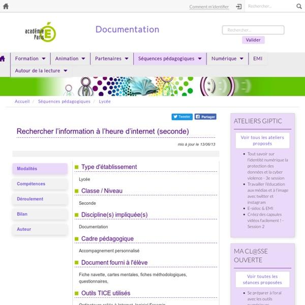 Rechercher l'information à l'heure d'internet (seconde)
