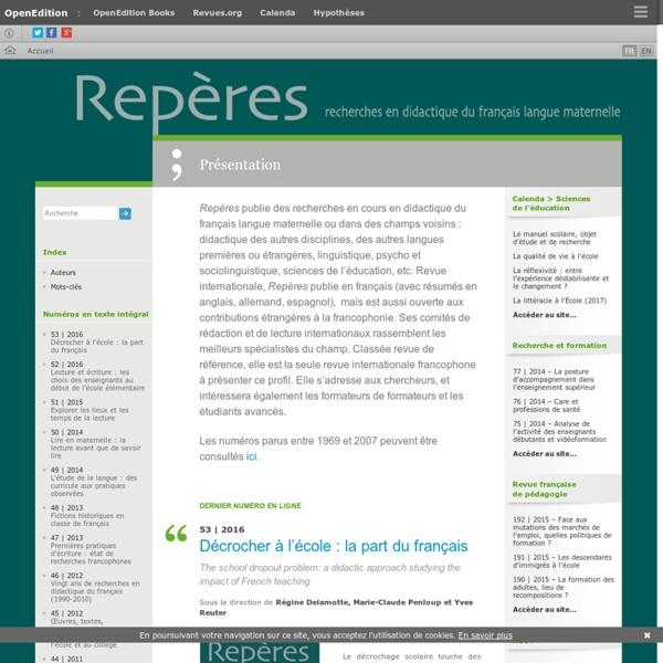 Repères - Recherches en didactique du français langue maternelle