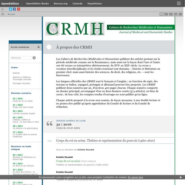 Cahiers de recherches médiévales - Journal of medieval studies