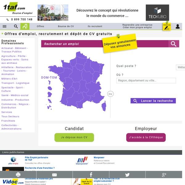 Emploi : Offre d'emploi - Recherches d'emploi - Dépôt de CV - Recrutement - Interim - 1TAF