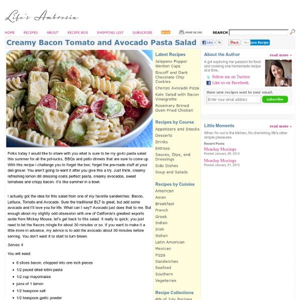 Recipe for Creamy Bacon Tomato and Avocado Pasta Salad at Life