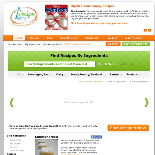Recipes by Ingredients - Recipe Matcher
