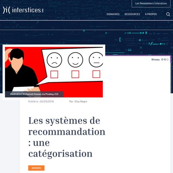 Les systèmes de recommandation : une catégorisation