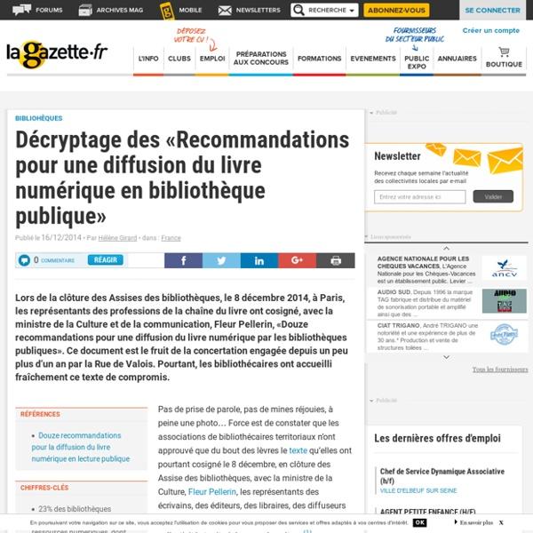 Décryptage des «Recommandations pour une diffusion du livre numérique en bibliothèque publique»