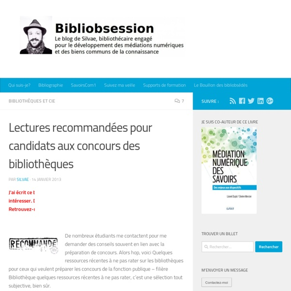 Lectures recommandées pour candidats aux concours des bibliothèques