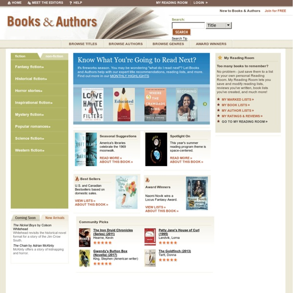Expert Book Reviews, Recommendations, Author Biographies - Books and Authors