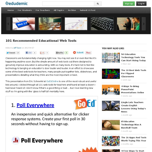 101 Recommended Educational Web Tools