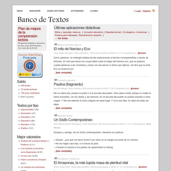 Banco de Textos: Recopilación de lecturas para Educación Primaria y Secundaria