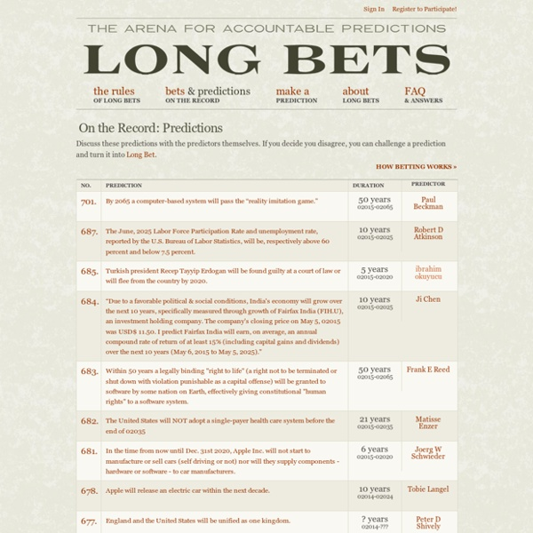 Long Bets - On the Record: Predictions