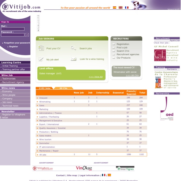 Vitijob : les offres d'emploi et de recrutement de la filière vin sur internet