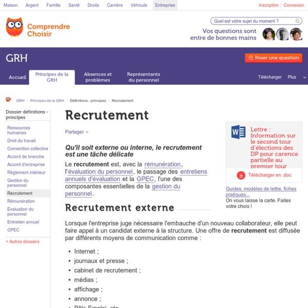 Recrutement diff rents types comprendrechoisir - Cabinet de recrutement communication ...