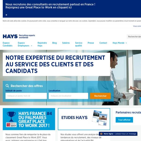 Hays - Cabinet de recrutement - Offres d'emploi en France en CDI, CDD, travail temporaire, contracting