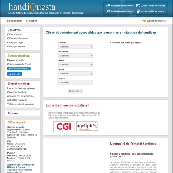 Emploi Handicap - Offres d'emploi pour personnes handicapées - handicap mental ou physique