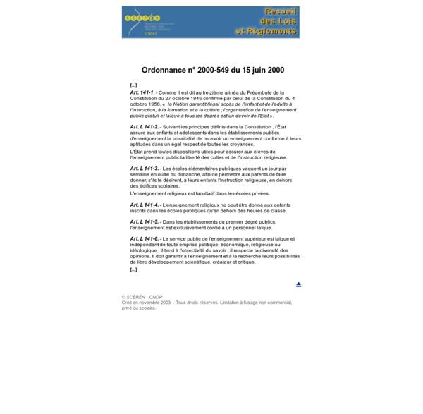 Laïcité de l'enseignement public - Code de l'Éducation, articles L - 141- 1 à 6