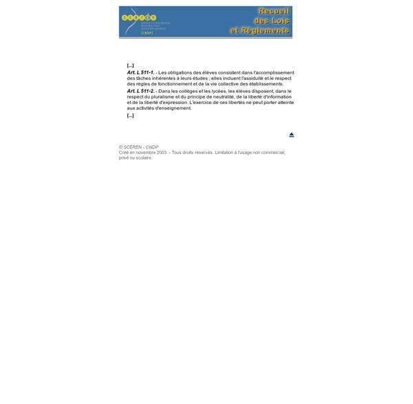 Droits et obligations des élèves - Code de l'Éducation, articles L- 511-1 à 2