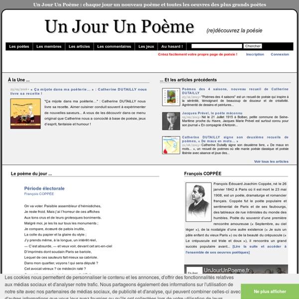 Poème du jour, recueils de poèmes, biographie et oeuvres complètes des grands poètes