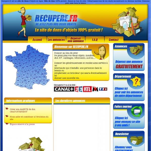 Recupere.fr - site de dons 100% gratuit, donner au lieu de jeter