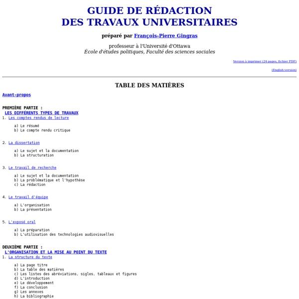 Guide de rédaction des travaux universitaires