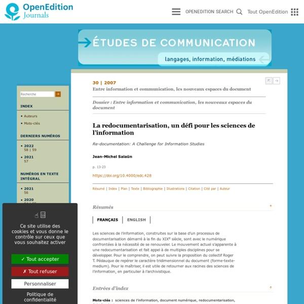 La redocumentarisation, un défi pour les sciences de l'information