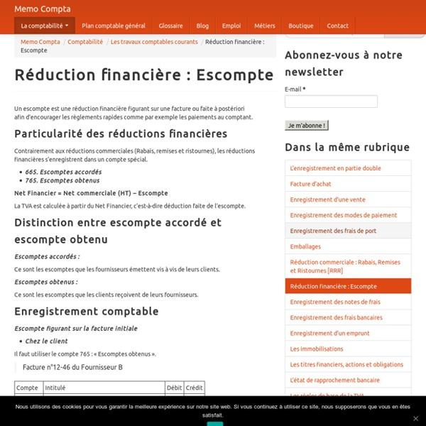 Réduction financière : Escompte
