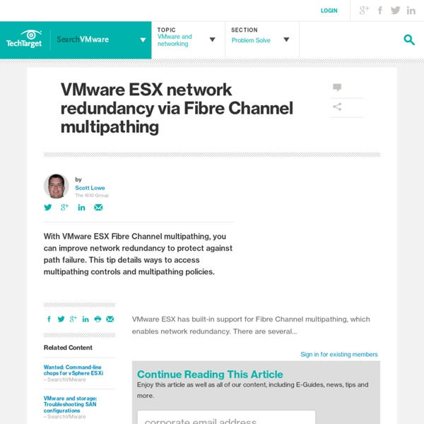 VMware ESX network redundancy via Fibre Channel multipathing