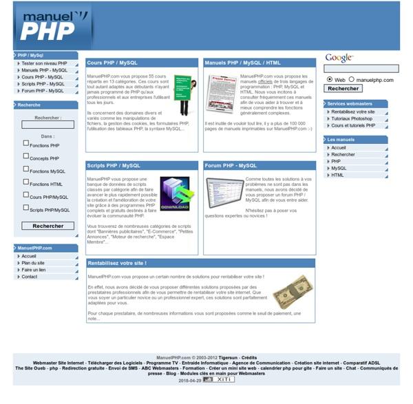 Manuel PHP .com - La référence en Cours et Manuels PHP / MYSQL / HTML en francais, forums, scripts