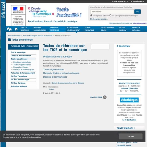 Textes de référence sur les TIC et les TICE - Éducnet