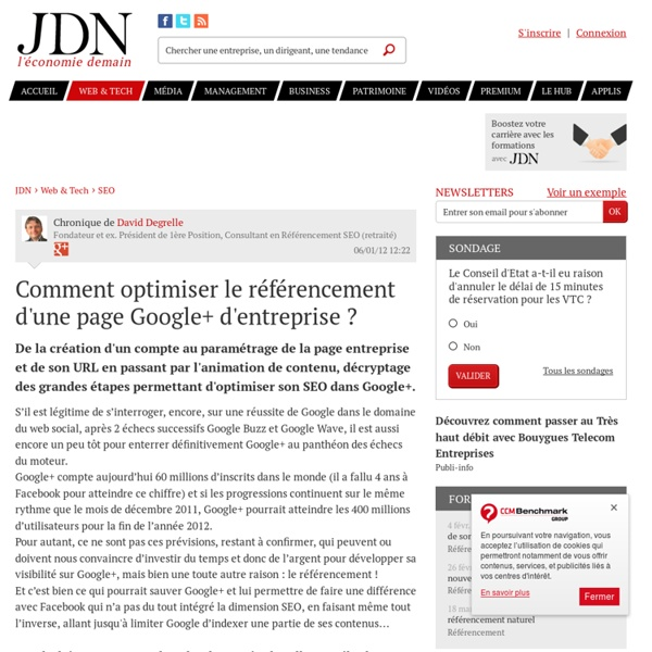 Comment optimiser le référencement d'une page Google+ d'entreprise ?