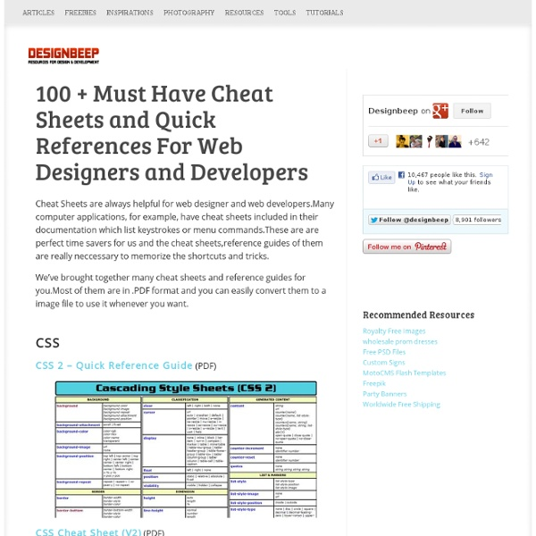 100 + Must Have Cheat Sheets and Quick References For Web Designers and Developers