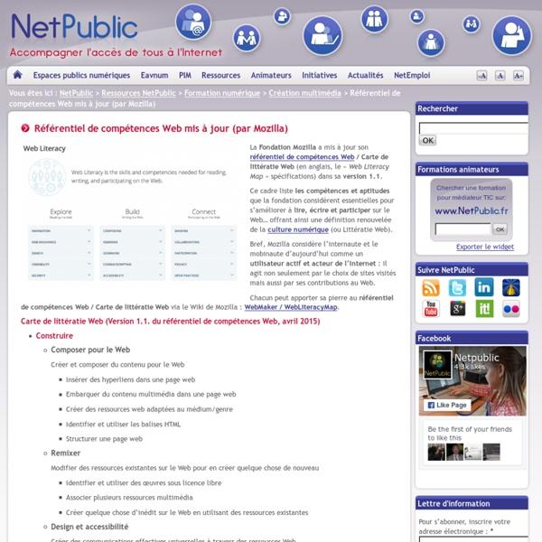Référentiel de compétences Web mis à jour (par Mozilla)