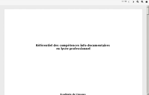 Referentiel des compétences info documentaires en lycée professionnel