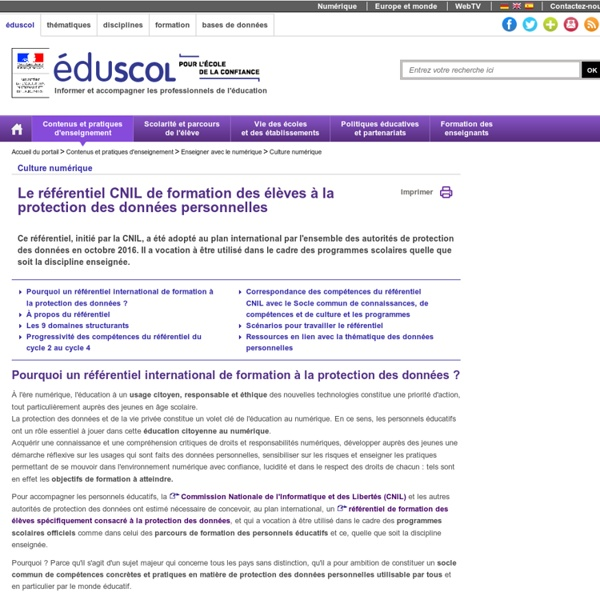 Référentiel CNIL de formation des élèves à la protection des données personnelles