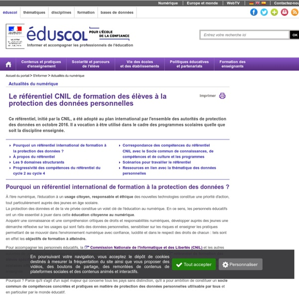 Actualités du numérique - Le référentiel CNIL de formation des élèves à la pr...