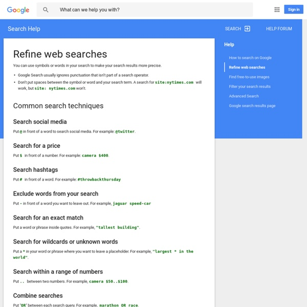 Operators and more search help - Web Search Help