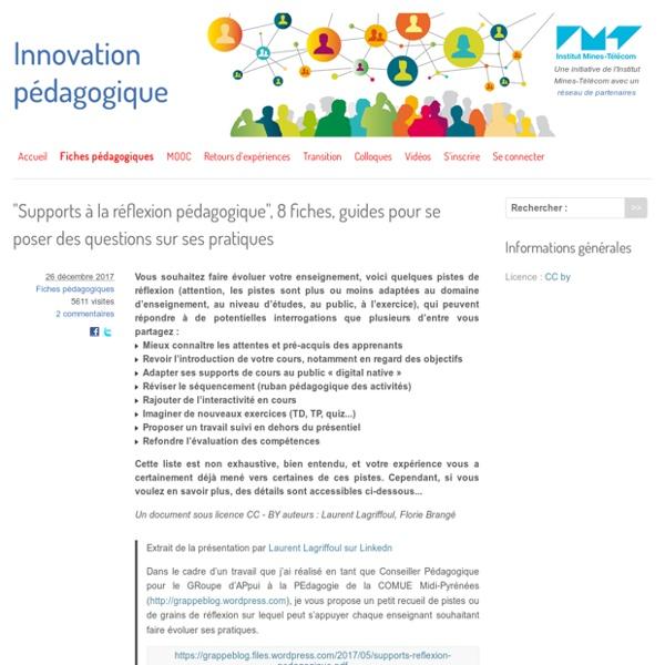 """""""Supports à la réflexion pédagogique"""", 8 fiches, guides pour se poser des questions sur ses pratiques"""