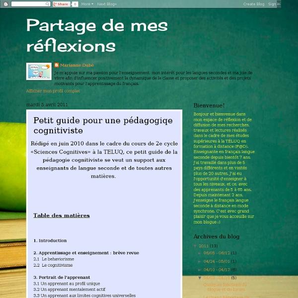 Petit guide pour une pédagogiqe cognitiviste