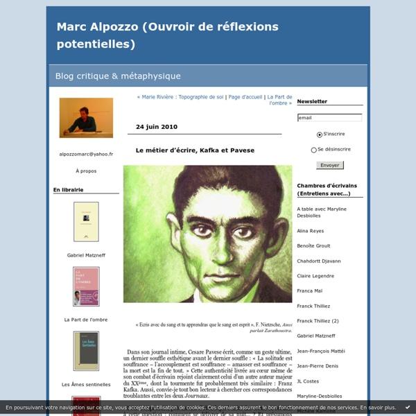 Le métier d'écrire, Kafka et Pavese