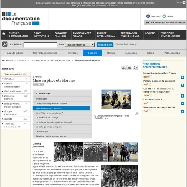 Mise en place et réformes - Le collège unique de 1975 aux années 2000
