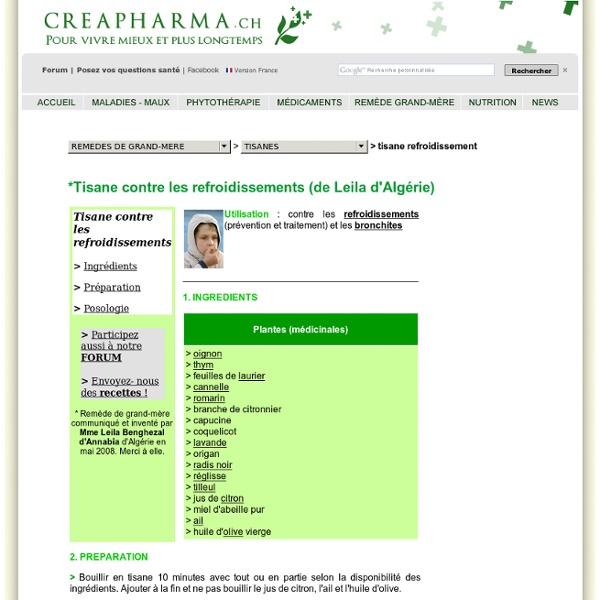 Tisane refroidissement - Tisane bronchite - Infusion refroidissement