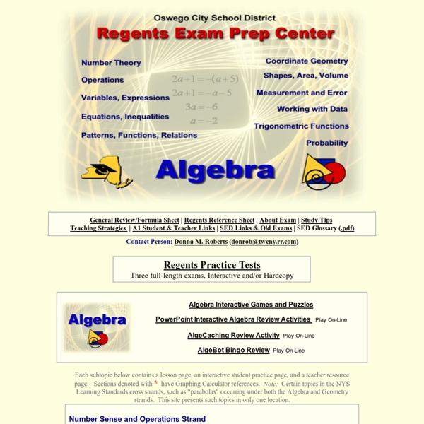 Regents Prep Center Integrated ALGEBRA (Algebra 1)