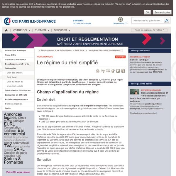Le régime du réel simplifié - RSI, régime simplifié d'imposition