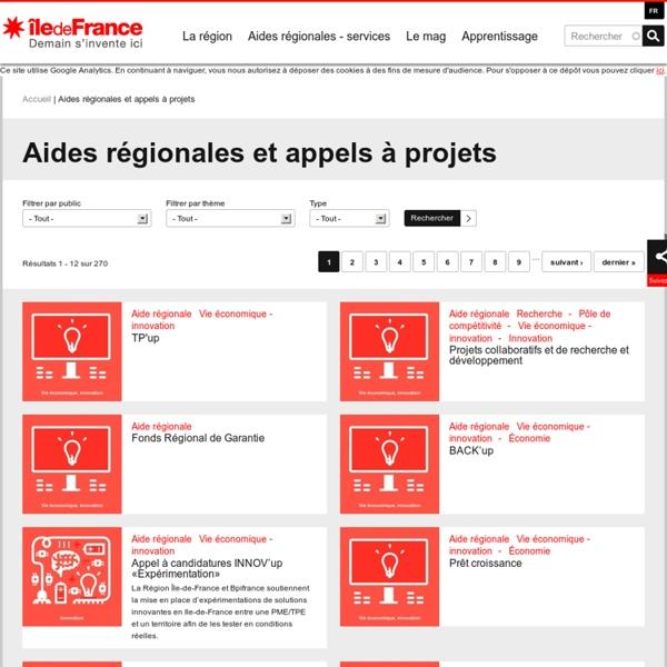 Aides régionales et appels à projets