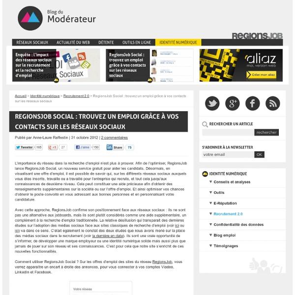 RegionsJob Social : trouvez un emploi grâce à vos contacts sur les réseaux sociaux