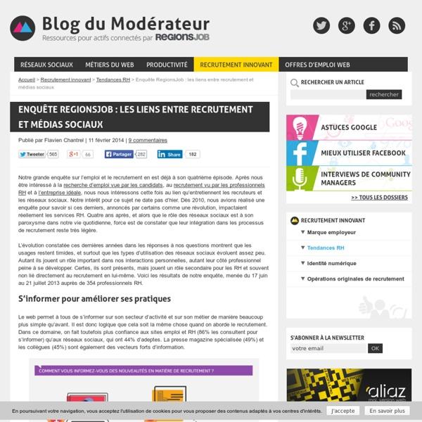 Enquête RegionsJob : les liens entre recrutement et médias sociaux