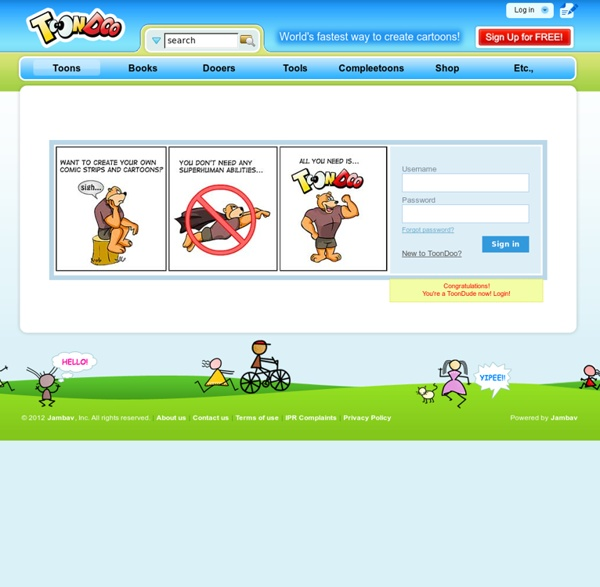 Login - Register at ToonDoo - World's fastest way to create cartoons!