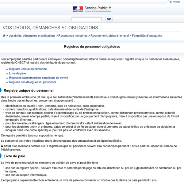 Registres du personnel obligatoires