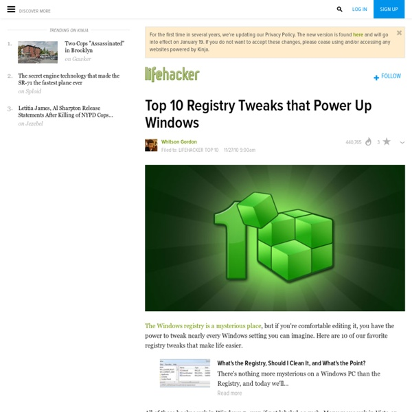 Top 10 Registry Tweaks that Power Up Windows