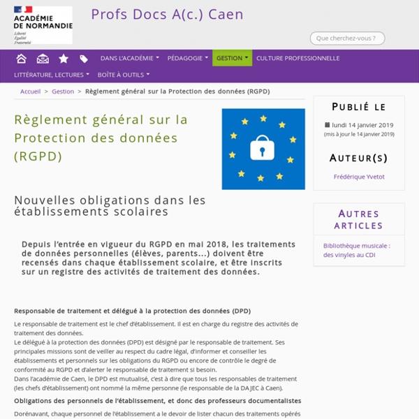 DROIT : Règlement général sur la Protection des données (RGPD)