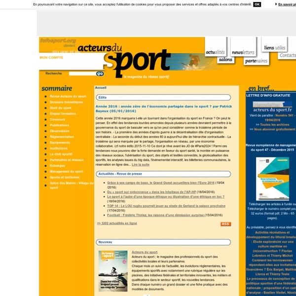Acteurs du sport : droit du sport, reglementation, actualités du sport - Acteurs du sport